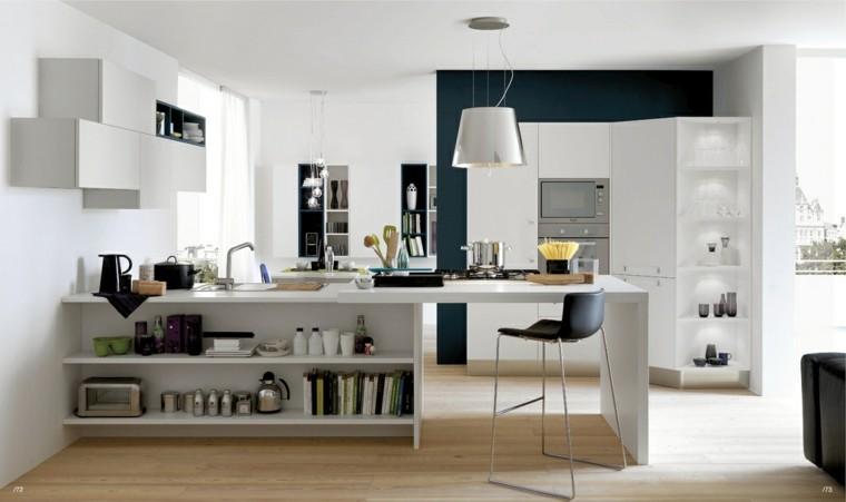 cocina isla blanca estanterias abiertas moderna ideas