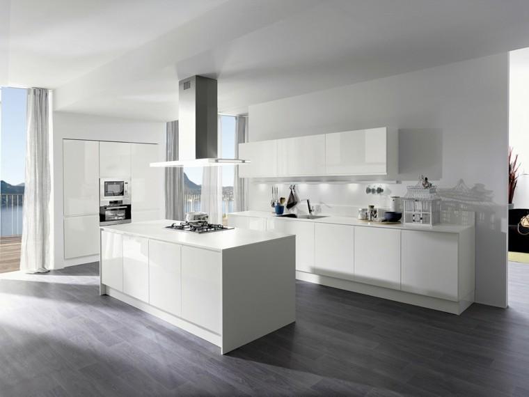 cocina isla estilo minimalista blanca luminosa ideas