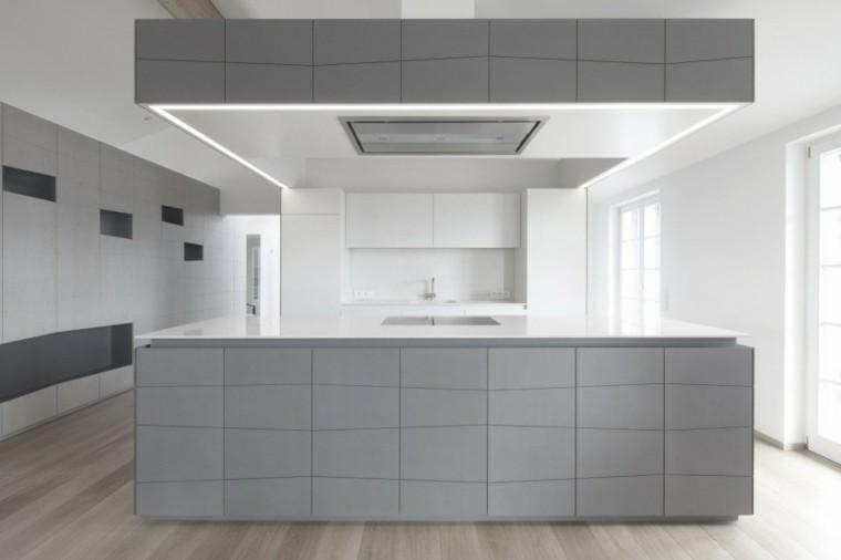 Baño Minimalista Gris:Decoración de interiores modernos en gris y blanco -