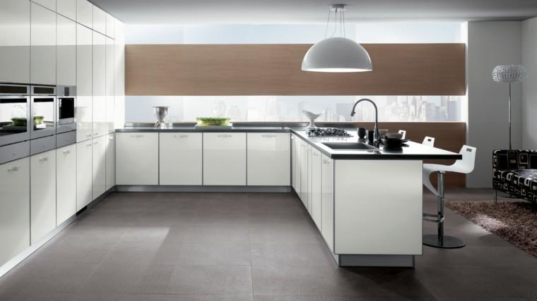 cocina isla grande blanca madera pared encimeras gris ideas