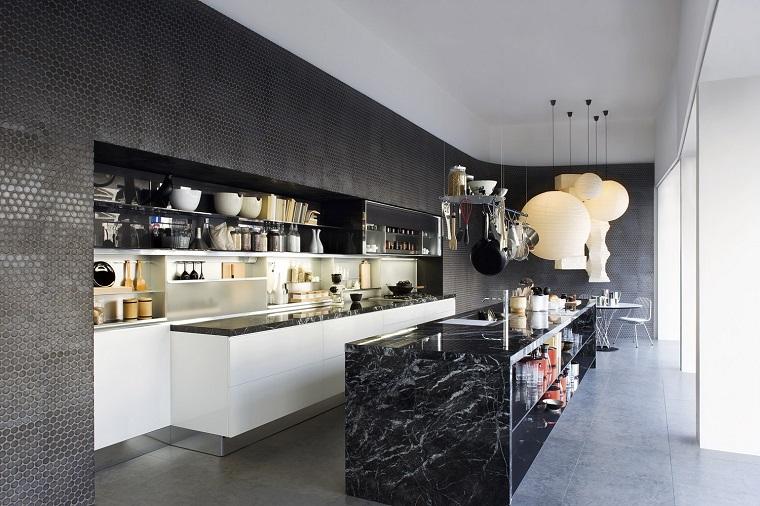 cocina lujosa isla grande marmol negro ideas