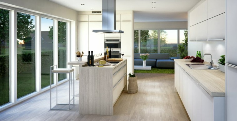 cocina luminosa isla madera color claro ideas