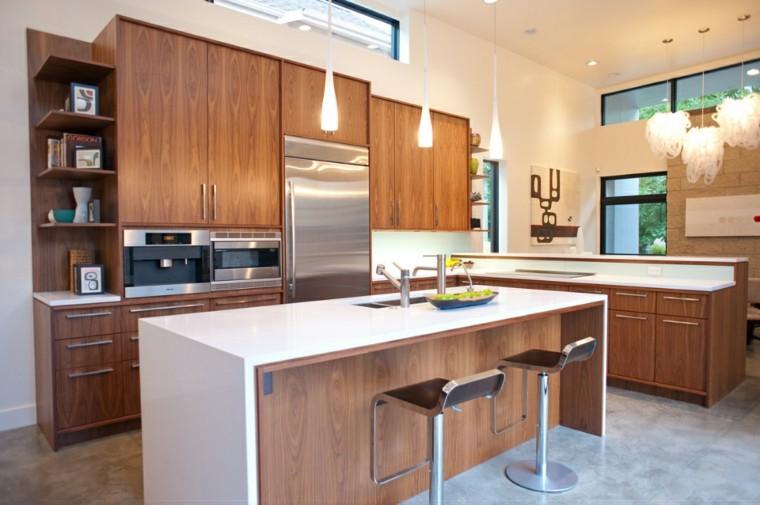 Barras de cocina de dise o moderno 50 ideas - Cocina encimera madera ...