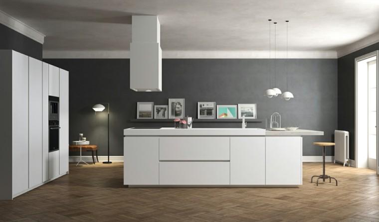 cocina minimalista pared color gris oscuro ideas