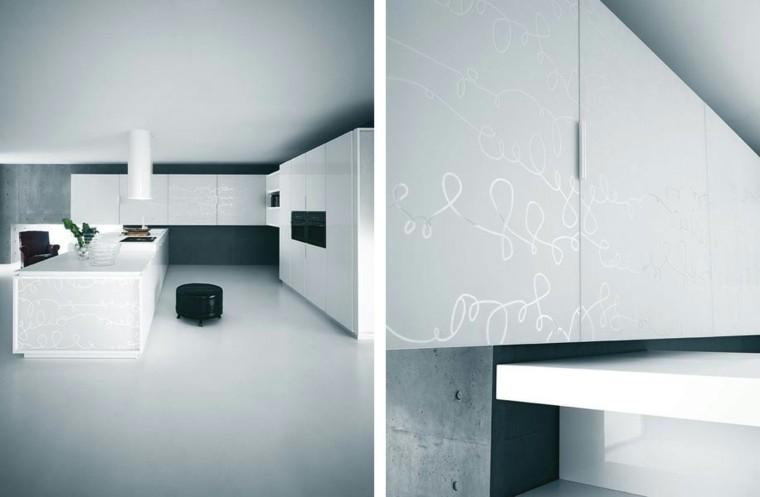 cocina moderna blanca muebles garabatos
