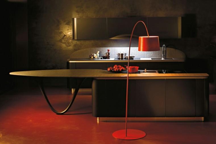 cocina moderna lampara roja