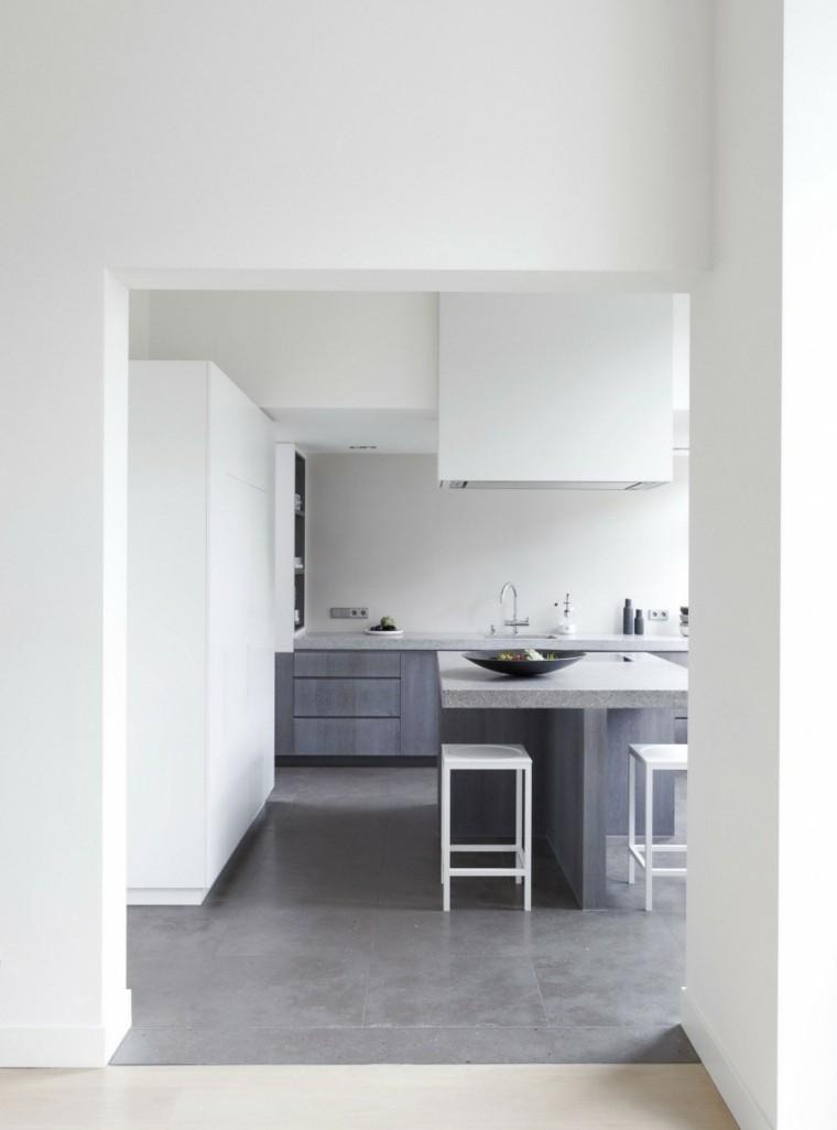 Decoraci n de interiores modernos en gris y blanco for Casa con muebles blancos