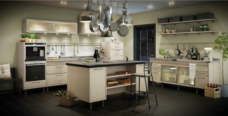 cocina muebles isla madera iluminacion led ideas