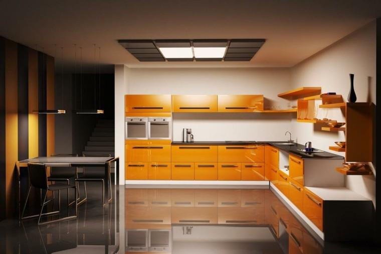cocina naranja brillo suelo moderna
