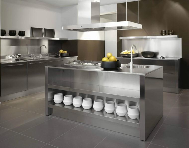 cocina origina armarios isla acero inoxidable ideas
