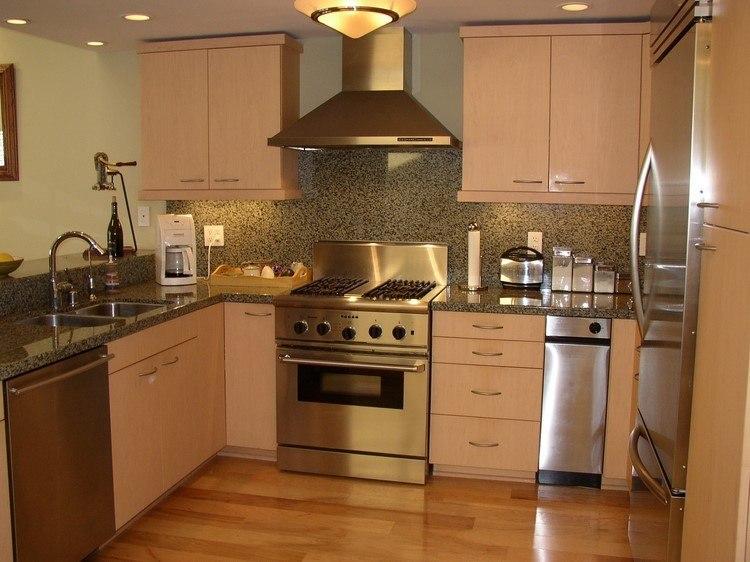 cocina panel granito pequena moderna ideas