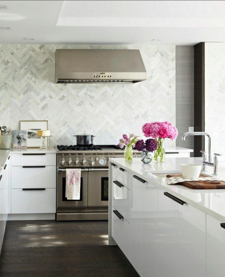 cocina panel losas granito estufa acero ideas