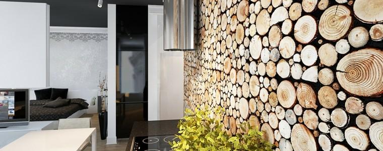 cocina panel madera estetica plantas