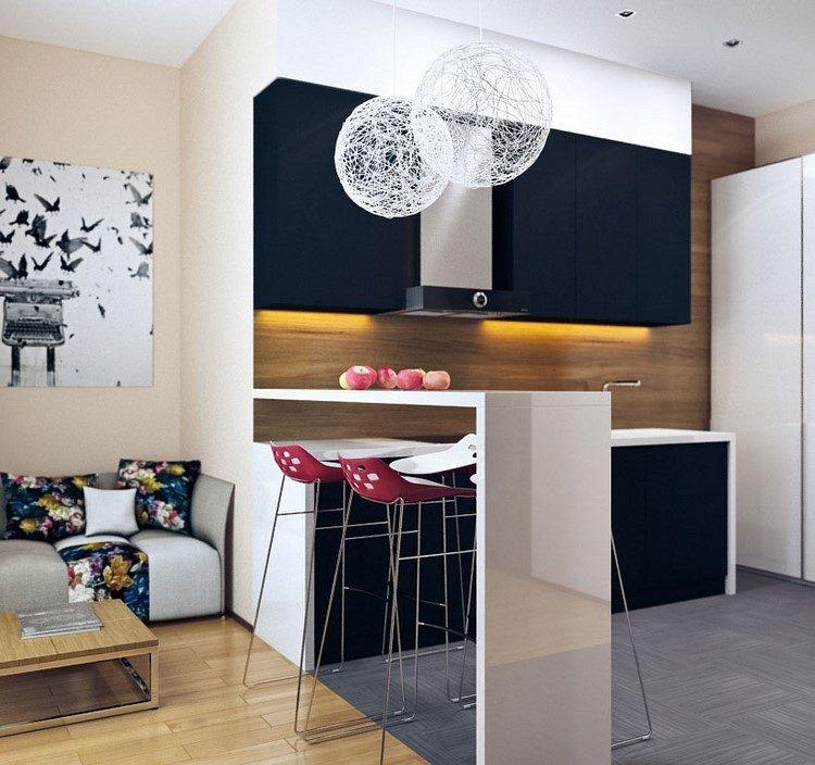 cocina pequena estilo contemporaneo panel madera ideas