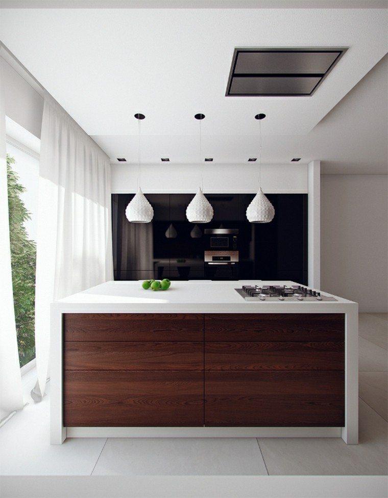cocina pequena moderna isla encimera blanca lamparas blancas ideas