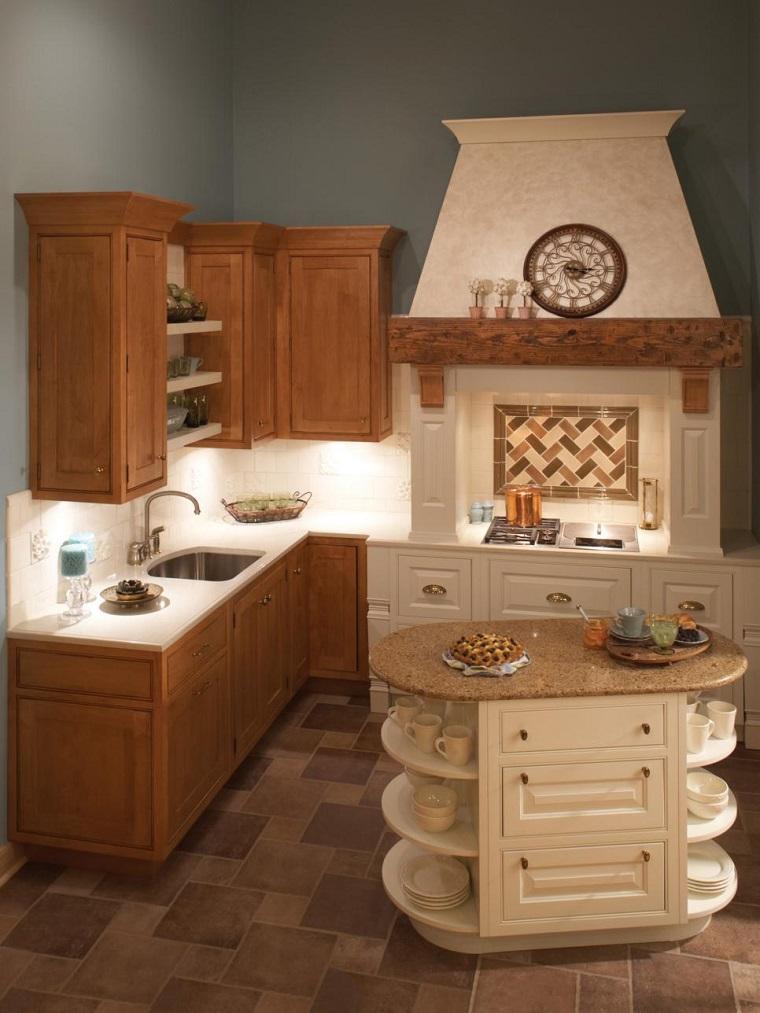 cocina pequena pared azul isla pequena armarios madera ideas