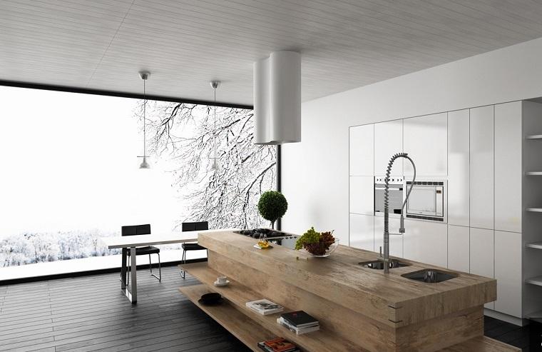 cocina preciosa amplia isla madera ventana vistas ideas