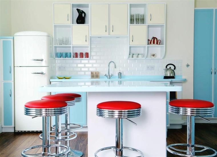 cocina estilo retro color celeste