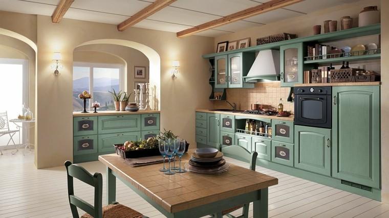 cocina tradicional retro muebles verdes