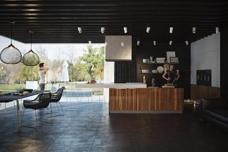 cocina ventanales techo suelo oscuros isla madera ideas