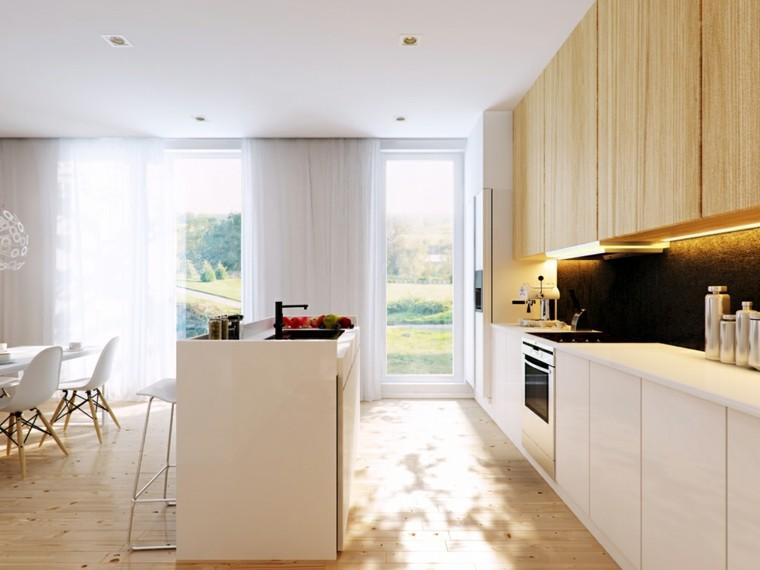 cocina color blanco madera beige