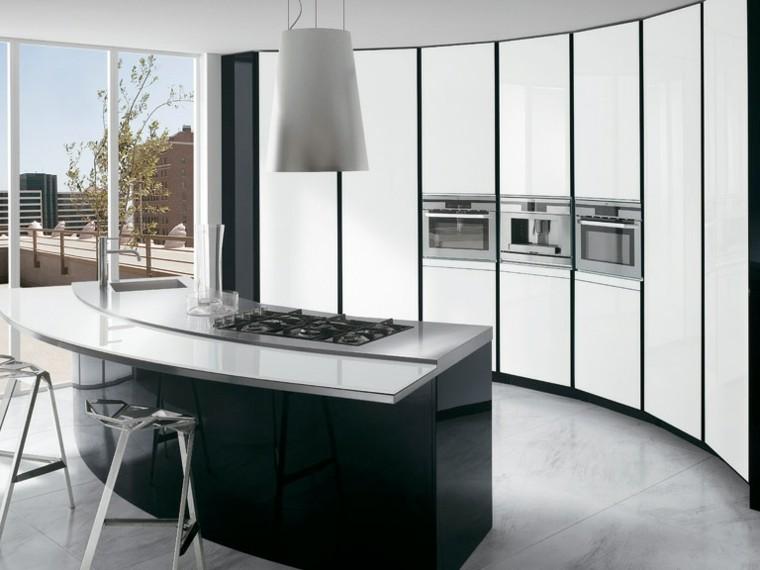 cocinas blancas futurista taburete metalicos