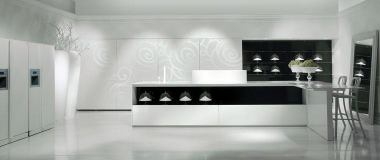 cocinas blancas futurista textura paredes