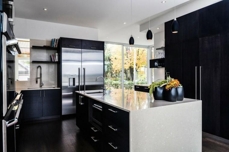 cocinas blancas moderna negra plantas