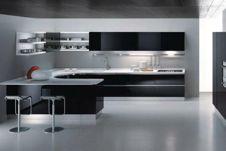 cocinas blancas negras curvada led