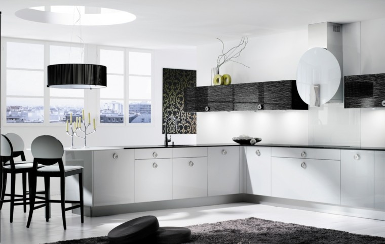 cocinas blancas negras diseño ramas