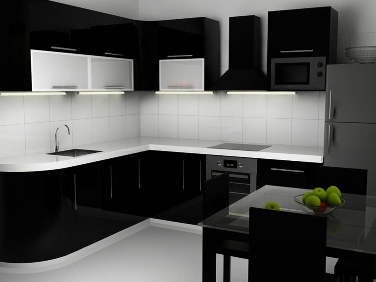 Cocinas blancas y negras 50 ideas geniales a considerar for Black white and gray kitchen design