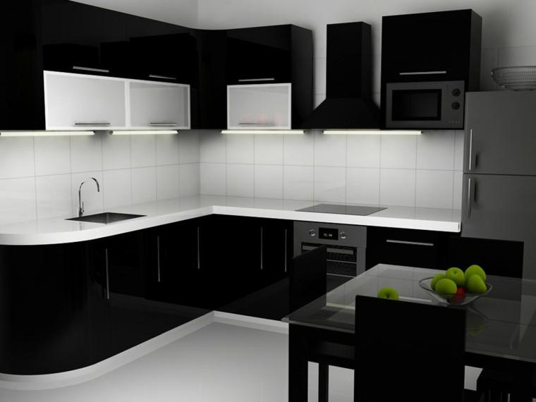 , paredes negras, muebles blancos, salpicaderos negros, armarios de