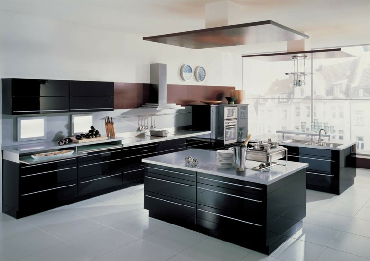 cocinas blancas negras fregadero marron