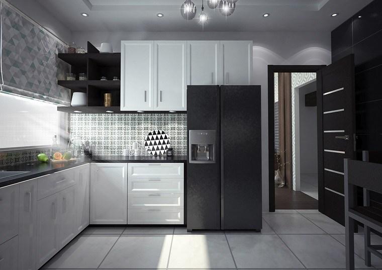 Cocinas blancas y negras 50 ideas geniales a considerar Disenos de cocinas integrales blancas