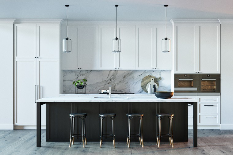 cocinas-blancas-negras-isla-grande-espacios-modernos