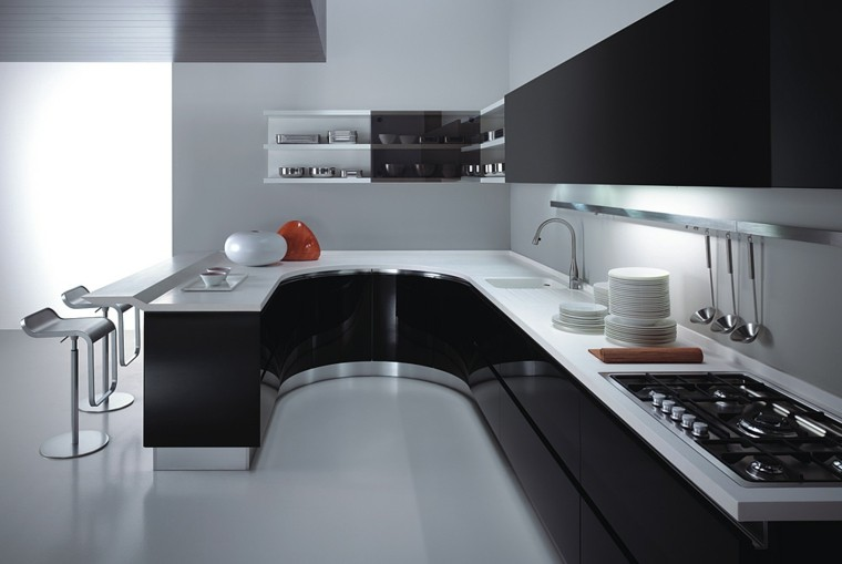 cocinas blancas y negras mobiliario en acero inoxidable
