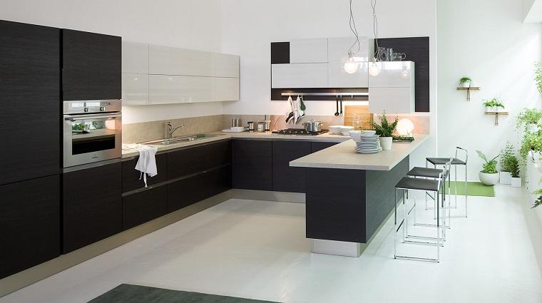 Cocinas blancas y negras 50 ideas geniales a considerar - Cocinas con estilo moderno ...