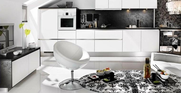 cocinas blancas textura flores silla