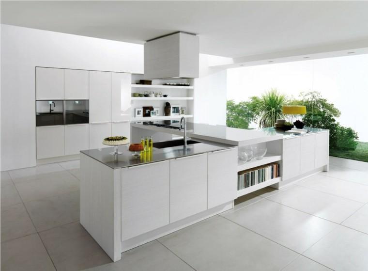 cocinas blancas vistas al jardin
