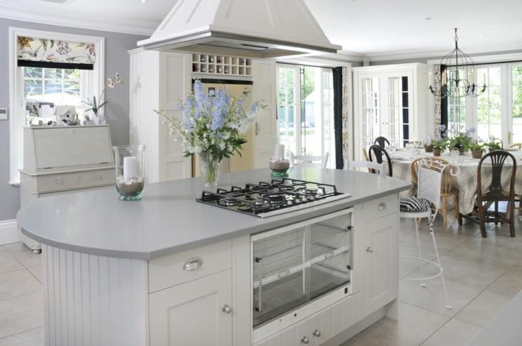 cocinas de diseño blanco atractiva sencilla flores