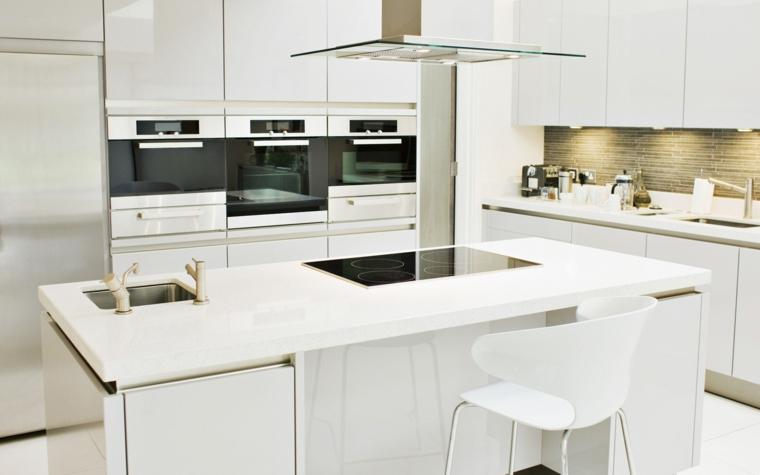 cocinas de diseño blanco cabinetes campana moderna