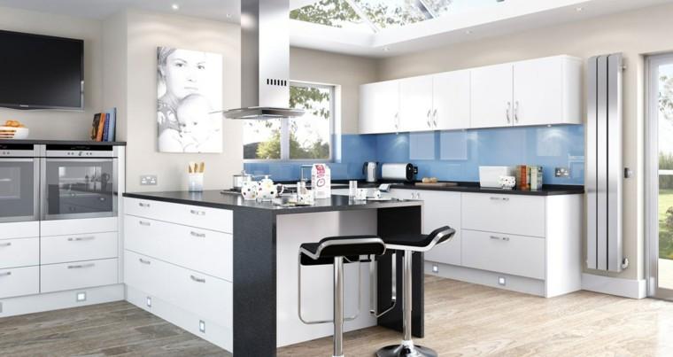 cocinas de diseño blanco cuadro mujer niño