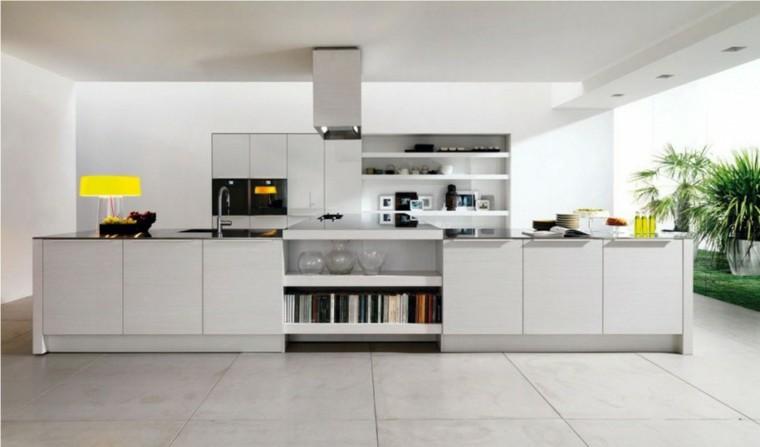 cocinas de diseño blanco espaciosa moderna amarillo