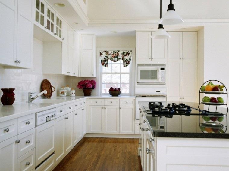 cocinas de diseño blanco frutas colores flores