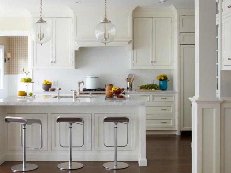 cocinas de diseño blanco frutas flores madera
