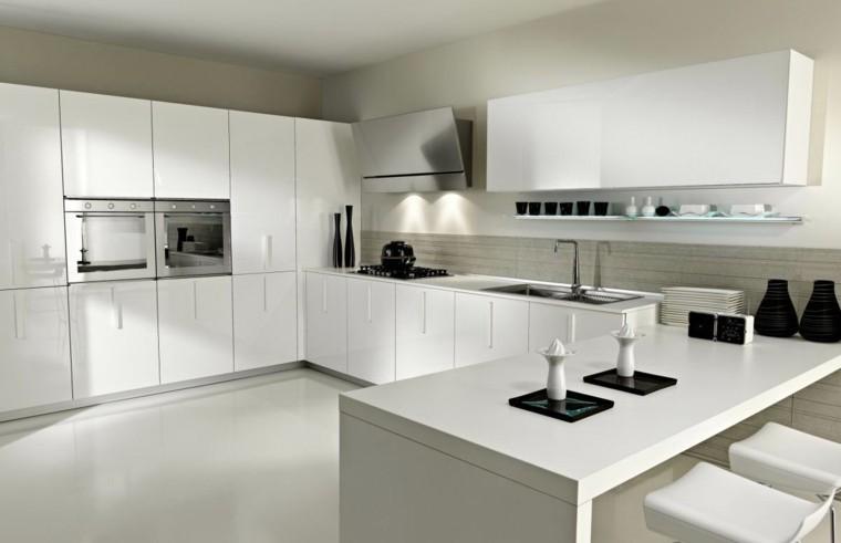 cocinas de diseño blanco luces led metal