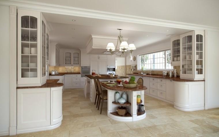 cocinas de diseño blanco madera lamparas