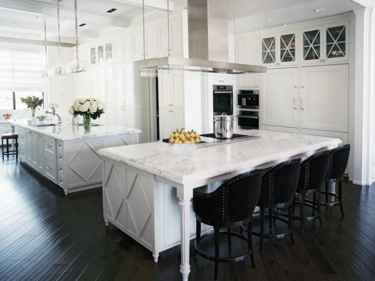cocinas de diseño blanco sillones negros amarillo