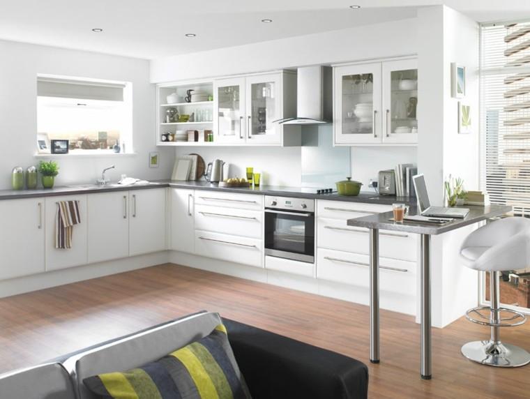 cocinas de diseño blanco sofa rayas cojines