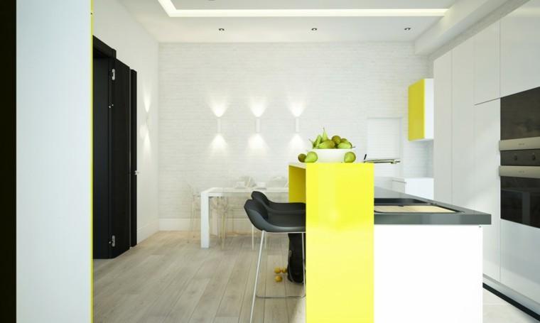 cocinas de diseño moderno color amarillo pared ladrillo ideas